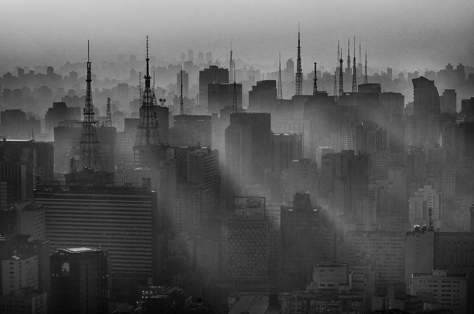 Vista aérea do centro de São Paulo, em agosto de 2007