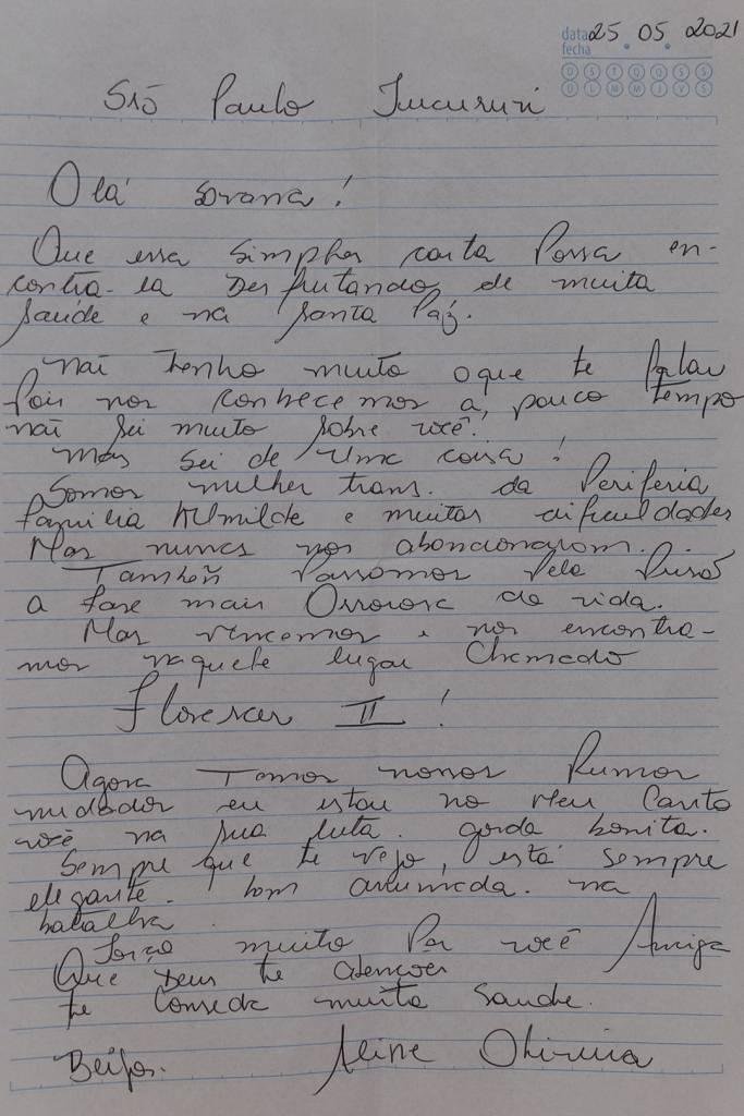Carta de Aline para Savanna