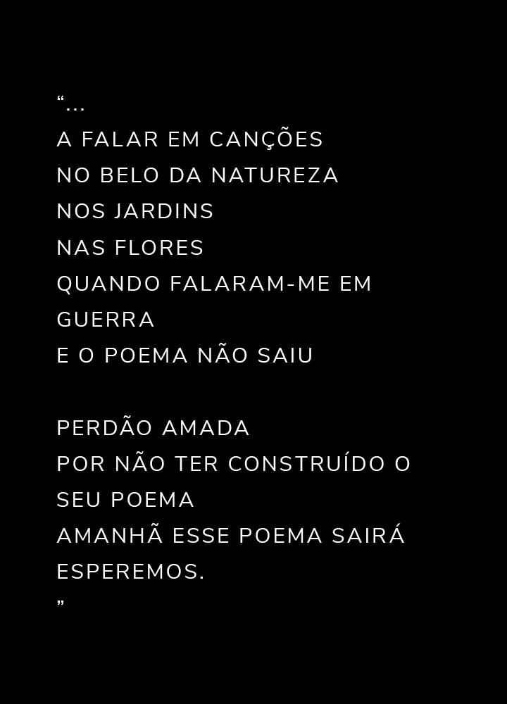 """""""... a falar em canções no belo da natureza nos jardins nas flores quando falaram-me em guerra e o poema não saiu perdão amada por não ter construído o seu poema amanhã esse poema sairá esperemos. """""""