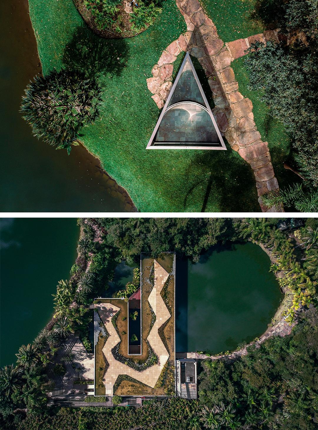 Acima, Dan Graham, Bisected triangle, Interior curve, 2002 e abaixo, Vista aérea do Centro de Educação e Cultura Burle Marx no Instituto Inhotim. Arquitetos Associados.