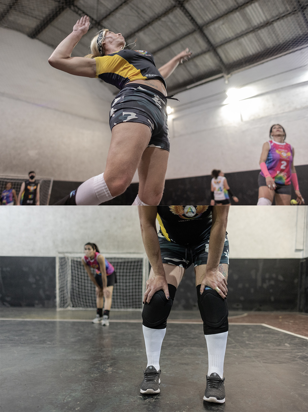 Aline corta bola contra o time adversário. Ela fez um teste para entrar no time Angels Volley Brazil e foi encaixada na turma de mulheres com prática em vôlei avançada.