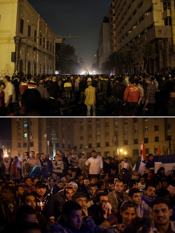 Protesto de um ano do confronto sangrento da rua Muhammad Mahmoud. / Revolucionários assistindo às notícias na Praça Tahrir durante ocupação, em 23 de novembro de 2012.