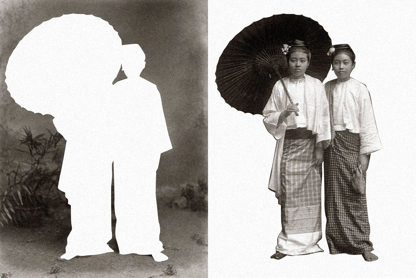 Meninas birmanesas com guarda-sol, Burma (Myanmar) cerca de 1890