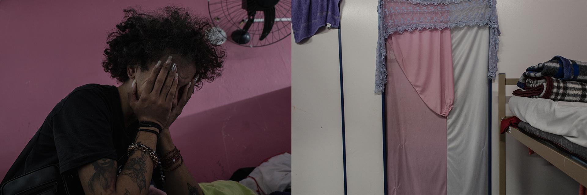 Bárbara chora em seu quarto devido o término de seu namoro com Mirella Santos. Mirella (22) decidiu sair da Casa Florescer I, local onde conheceu Bárbara, para voltar a viver na rua. Mirella vive em barracas com outras pessoas em condição de rua perto da Barra Funda, desde sua mudança elas pararam de se encontrar. Entrada do quarto de Bárbara na Casa Florescer II, o qual ela dividia com outras mulheres transexuais. Bárbara morou de Julho à outubro de 2020 na Casa Florescer II, em Janeiro de 2021 até abril de 2021 viveu na Casa Florescer I e um dia depois voltou a morar na Florescer II até agosto de 2021 quando retornou para Florescer I.